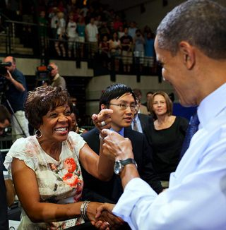 President Obama at town hall event, WH photo