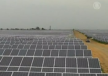 Ukraine solar plant - NTD video screenshot