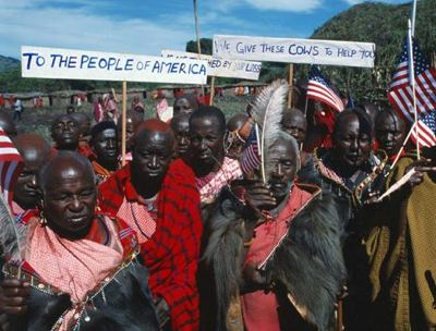Massai warriors w/ US flags and 9/11 messages of support