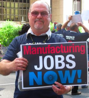 UAW member rallies for jobs - UAW photo