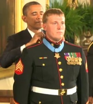 Pres. Obama awards medal to Marine Sgt. Meyer