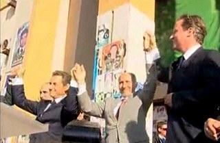 Sarkozy Cameron welcomed in Bengazi - Euronews video clip