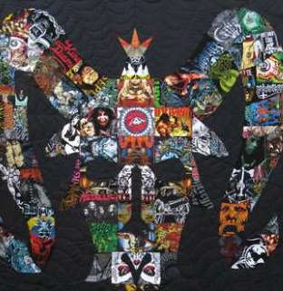 Quilt uses rock t-shirts to create art