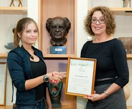 Israeli teen hero honored by BGU president w/ scholarship