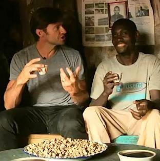 Hugh Jackman with coffee grower
