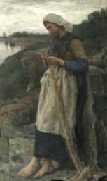 French painting, Fishermans Daughter-Mender of Nets