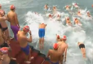 Swimmers in Hong Kong Harbor - BBC video snip