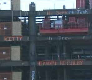beams with names painted by ironworkers