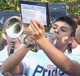 trumpet playing teen marches at grandma's hospice center - NBCvideo