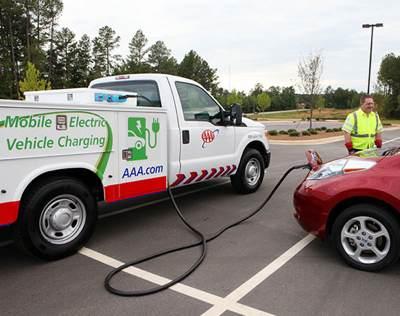 AAA mobile EV charging truck
