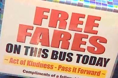 Free bus fares sign