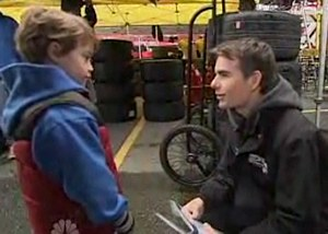 Jeff Gordon helps go-cart fundraising boy