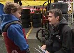 Jeff Gordon helps go-cart fundraising boy