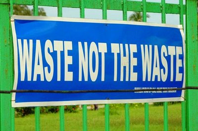 Recycling sign Waste Not by John Hill-CC