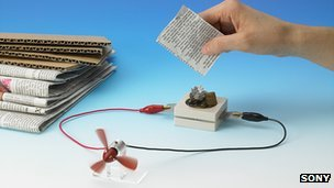Battery runs on paper waste - Sony