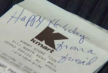 Cash register receipt from Secret Santa