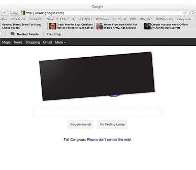 Google blackout page