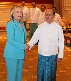 Myanmar President Thein Sein with Sec. Hillary Clinton -Dec-2011