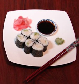 sushi rolls and wasabi by Reverendb via Morguefile