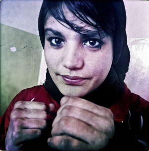 Afghani woman boxer Sadaf Rahimi by Basetrack via Flickr - CC license