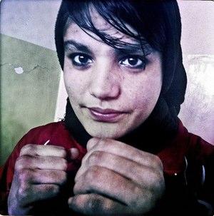 Afghani woman boxer Sadaf Rahimi by Basetrack via Flickr - CC license