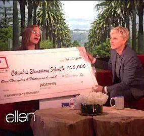Ellen gives teachers 100K