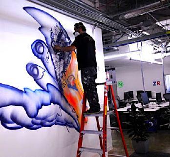 Facebook office paintings David Choe