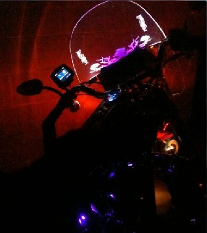 Lit Harley windshield adds safety - Illumatek photo