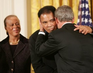 Muhammad Ali and President Bush-WH photo