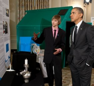 Obama at the WH science fair with Taylor Wilson -WH photo