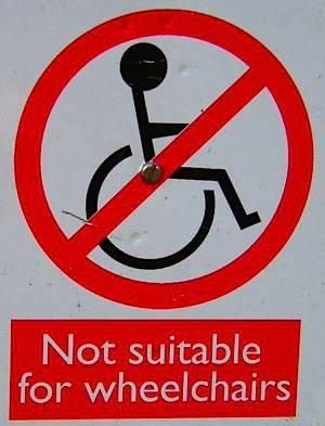 Wheelchair inaccessible sign - by Godric Godricson via Morguefile