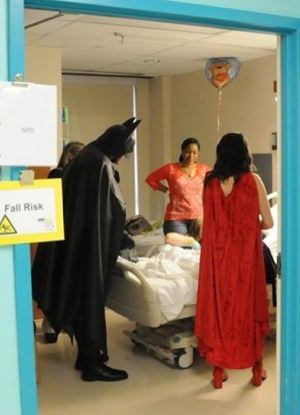 Batman at childrens hospital - photo by Allen Goldberg