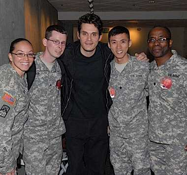 John Mayer with veterans