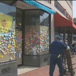 Sticky Notes on storefront - CBS video snapshot