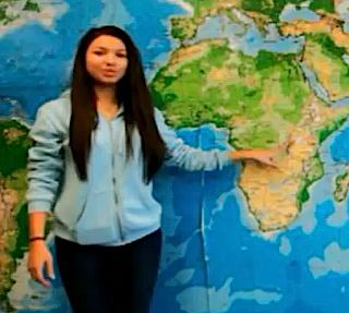 Student points to Africa map - YouTube