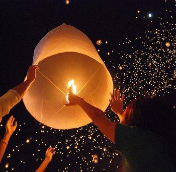 lanterns floating - Wikipedia photo by Takeaway, CC