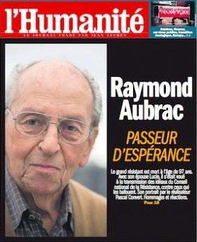French headline hails Raymond Aubrac