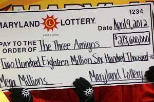 Lottery check from MD lottery