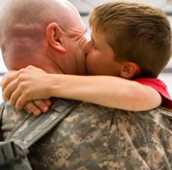 Soldier welcomed home by son -Mindy Lewis family photo