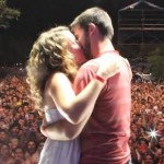 Concert proposal onstage with Foster the People