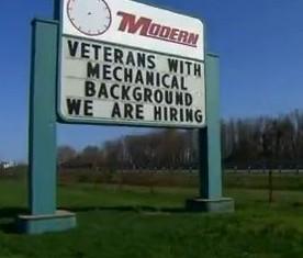 We Are Hiring Veterans sign -Fox News snapshot