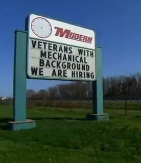 We Are Hiring Veterans sign -Fox News snapshot