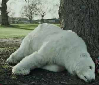 Polar bear Greenpeace ad slumped on tree