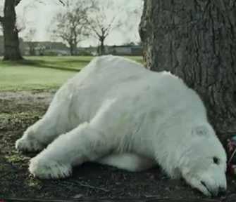 Polar bear Greenpeace ad slumped on tree