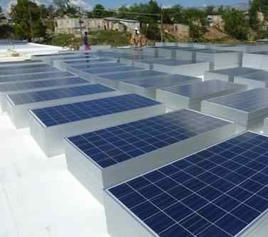 Solar panels at Mirebalais' new hospital (Photo: PIH)
