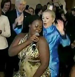 Hillary dancing, press pool video snapshot