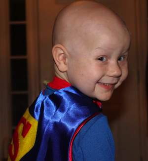 Superhero cape for cancer kid