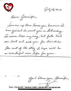 Ty Warner letterhead note with donation