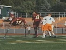 Soccer kick crutches HS player-teamvid