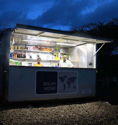 SolarKiosk at night in Ethiopia